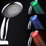 handheld chrome LED shower head with temperature control