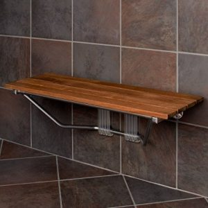 folding teak wood shower bench